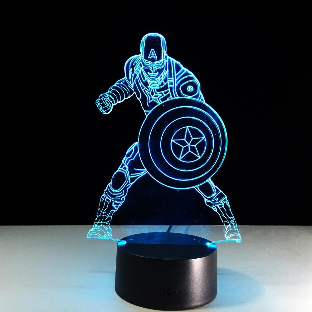 Super Held Captain America 3D LED Tischleuchte Tischlampe Nachttischlampe 7Farbe