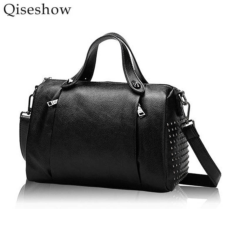 2017 fashion Female Genuine Leather Rivet Shoulder Bag For Women Casual Leisure Cheap Handbag Ladies Totes sac Crossbody Bags  new arrival fashion color rivet metal decoration female totes shoulder bag handbag women s crossbody messenger bag 2 colors