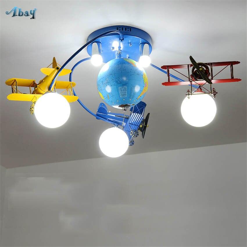 Art déco chambre d'enfant avion globe plafonnier pour étude pépinière créative salon lumières enfants led verre plafonnier e27