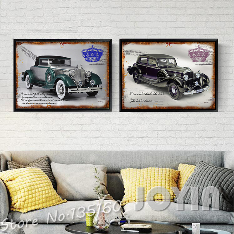 Buy 2 piece classic cars wall decor for Vintage car bedroom ideas