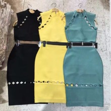 Top Quality Celebrity 2 Pieces Set Black Blue Yellow Sexy Bandage Dress Cocktal Party Bodycon Dresses
