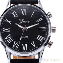 Fashion Roman Dial Mens Watch Elegant Leather Black Analog Quartz Sport Wrist