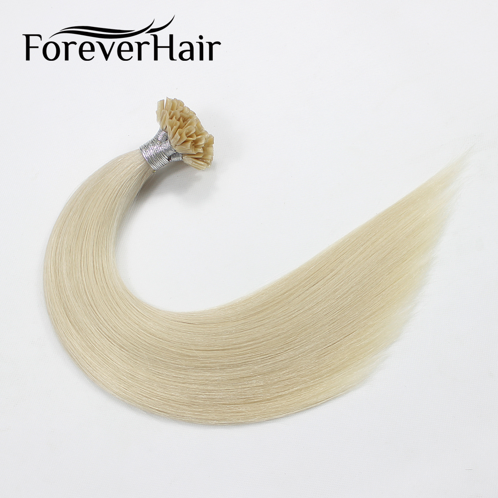 FOREVER HAIR 1g/s 16 Inch 100% Real Remy Fusion Hair Extension Blonde Keratin Nail U Tip Natural Human Hair Extensions 50pcs/pac