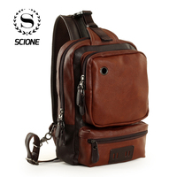 Scione Men Leather Chest Crossbody Bags Shoulder Waterproof Backpacks Fashion Outdoor Business Casual Bag With Earphone Hole