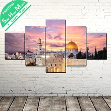 5 Piece Israel Jerusalem Canvas Painting Wall Art Pictures Prints on Canvas Home Decor Wall Poster Decoration for Bedroom jerusalem israel petra and sinal