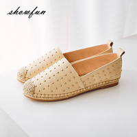 Women S Real Leather Rivet Flats Moccasins Brand Design Hemp Insole Slip On Loafers Leisure Espadrilles