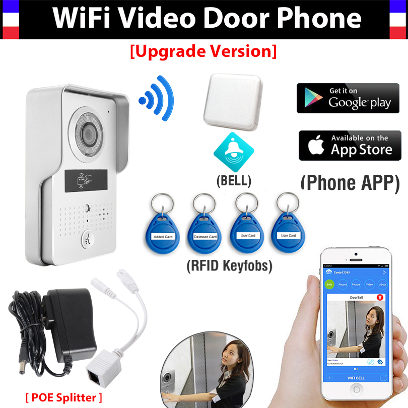 Wireless Wifi IP Video Doorbell Camera + Indoor Bell+ RFID Card Video Door Phone Intercom Remote Unlock for IOS/Android APP jcsmarts rfid access wireless wifi ip doorbell camera video intercom for android ios smartphone remote view unlock with sd card