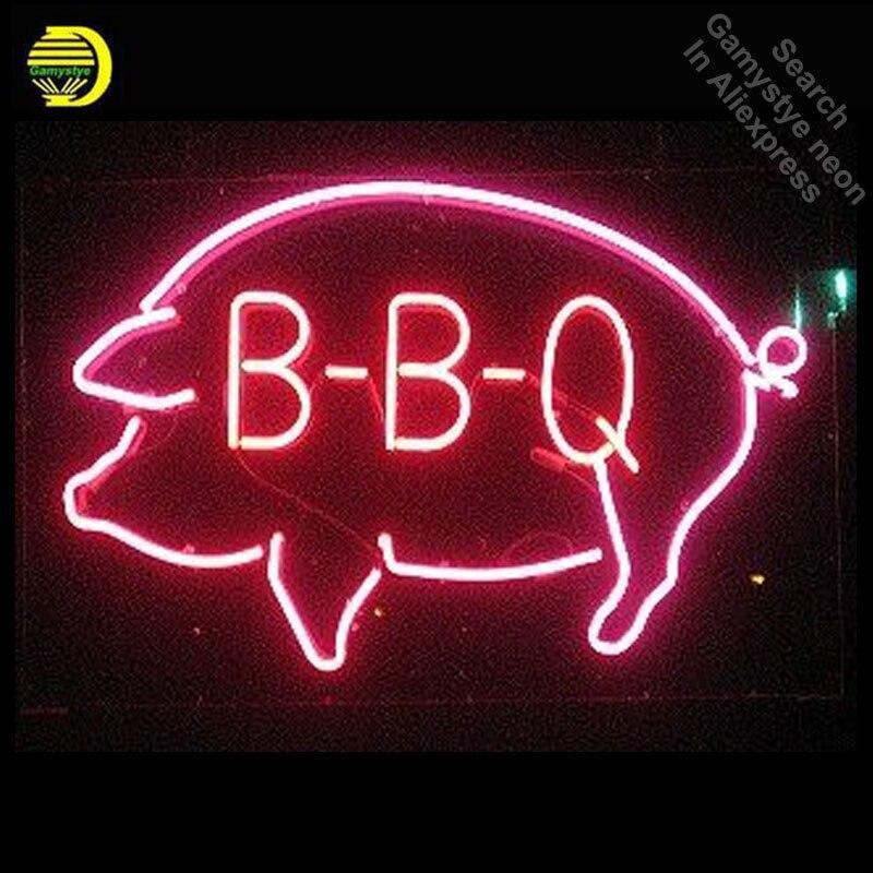 BARBECUE Porc Néon Signe Boutique Décor néon Signes Réel Verre Tube néon lumières Loisirs Restaurant Windows Emblématique Signe Neon Light lampes