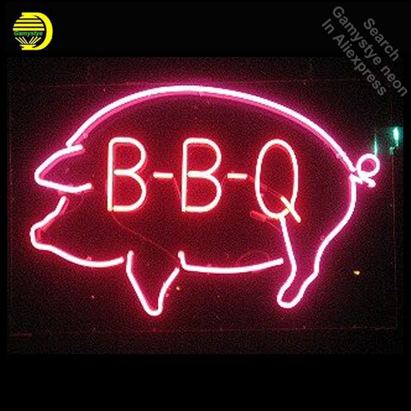BBQ Pig Neon Sign Shop Decor Neon Signs Real Glass Tube Neon Lights Recreation Restaurant Windows Iconic Sign Neon Light LAmps