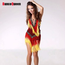 2018 Fringe Latin Dance Costumes For Women Red/Grey/CoffeeLatin American Dance Dresses Skirt Tasse Cha Cha/Samba Fitness Clothes