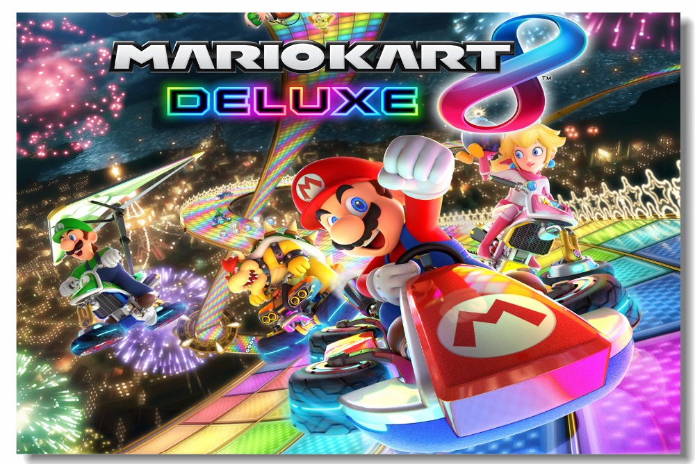 US $5 75 28% OFF|Custom Canvas Wall Decals Mario Kart 8 Deluxe Posters  Super Mario Wallpaper Video Game Mural Stickers Kids Bedroom Decor  #0474#-in