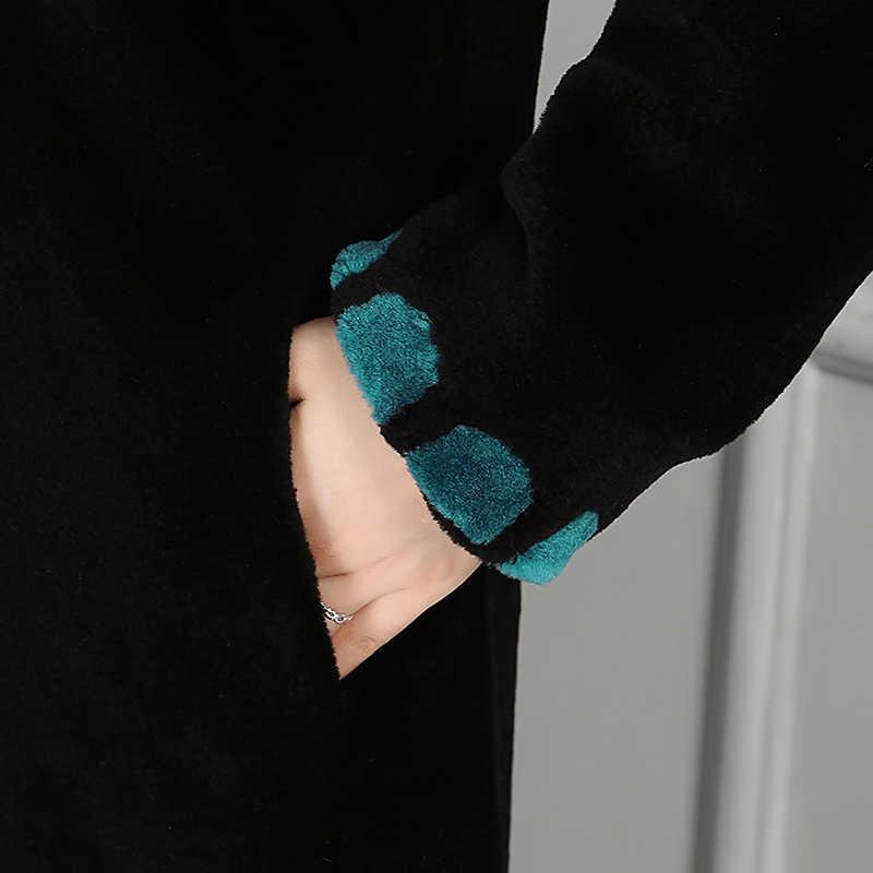 Nerazzurri зима длинный природный натуральный мех пальто для женщин Цвет Блок толстый Пол Длина женская натуральная Шуба овечья шуба; шуба из овечьей шерсти;шуба женская из натурального меха;шуба из овчины;шуба ягненок