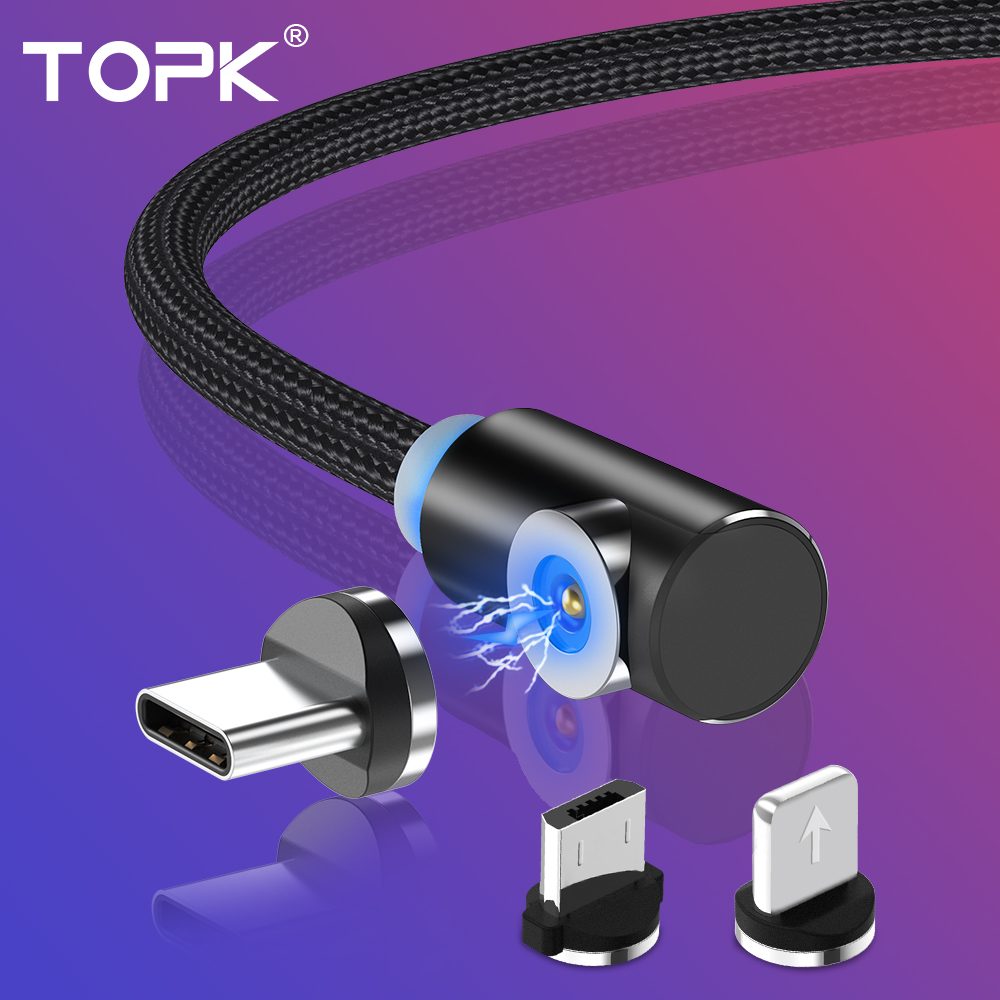 TOPK L Type Magnetic USB Cable for iPhone Charger Micro Usb Type C for Samsung Galaxy S9 S8 Plus Note USB C Charger Cable|Mobile Phone Cables| |  - AliExpress
