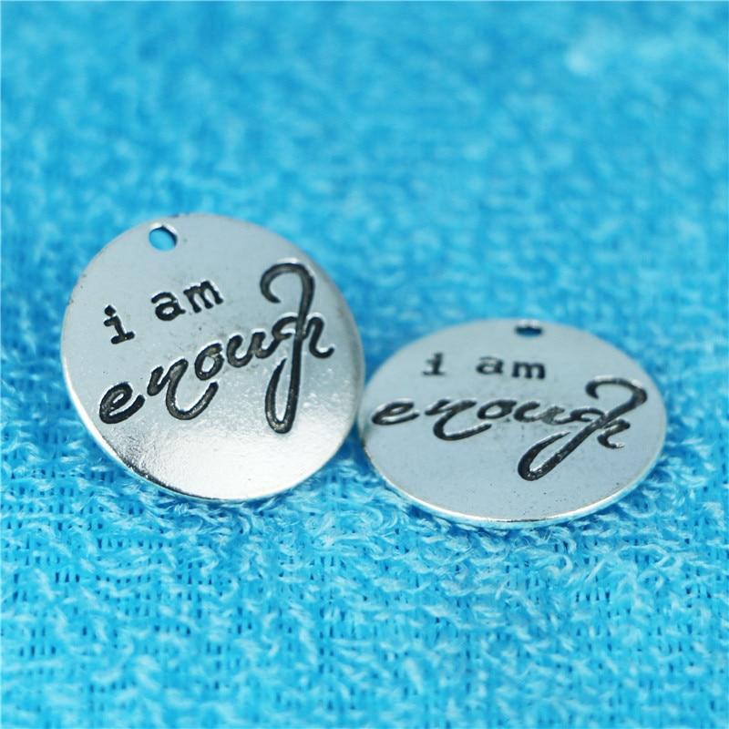 I-Am-Enough Charm-Pendant Making-Bracelet Letters Antique Silver 25mm for DIY 10pieces/Lot