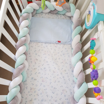 1M-3M Baby Crib Customized Nodic Knot Baby Bed Bumper For Newborn Knotted Braid Pillow Cushion Bumper Protector Room Cot Decor недорого