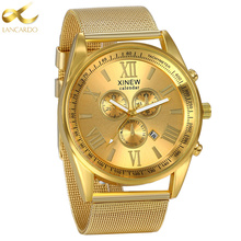 Lancardo Self-design Men Watches Top Brand Luxury Date Clock Male Steel Strap Business Quartz Watch Men Sports Wrist Watch