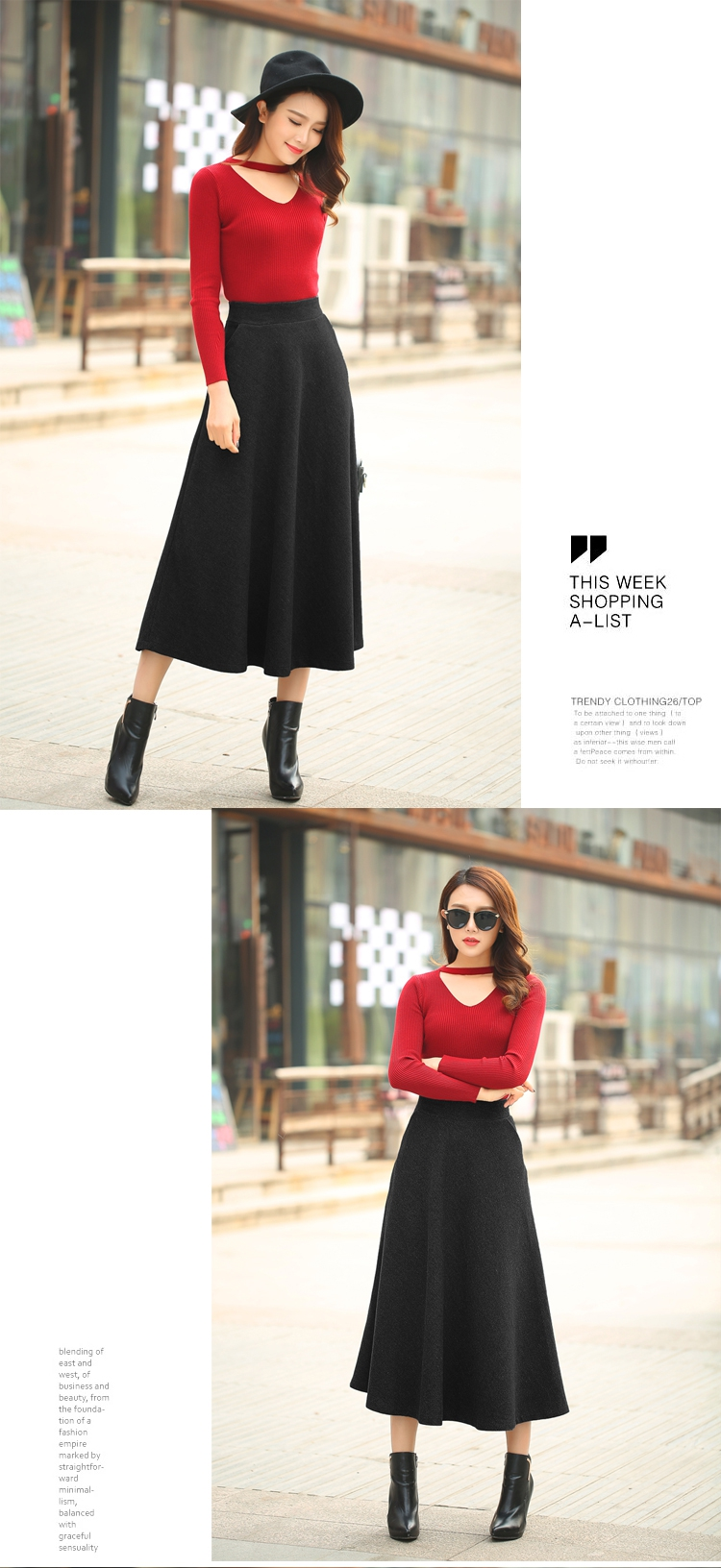 New Winter Skirt Autumn Fashion Womens Long Woolen Skirts A Line Top Up Upan Size Chartcm 1 Cm039 Inch