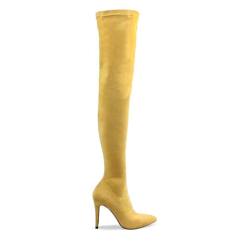 Sur Coton De Hautes jaune Pointu Bout Perixir Mince Talons Bottes Mode Noir Femmes Genou Le bleu Tissu Lycra Hiver 11 Cm qEwzwgIa