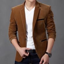 Высокое качество мужской костюм куртки умный Повседневный тонкий костюм Блейзер мужской вельветовый однобортный пиджак и пальто