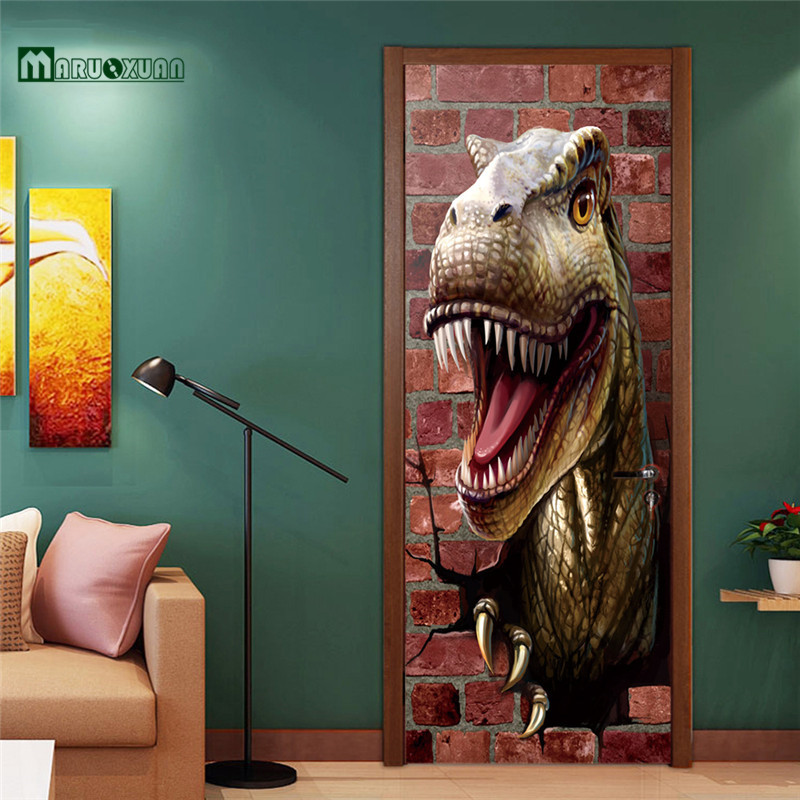 Aliexpress.com : Buy Maruoxuan 2017 New 3D Door Sticker Dinosaur Sticker Bedroom Door Corridor Background Decorative Wallpaper PVC Wall Stickers from ... & Aliexpress.com : Buy Maruoxuan 2017 New 3D Door Sticker Dinosaur ... Pezcame.Com
