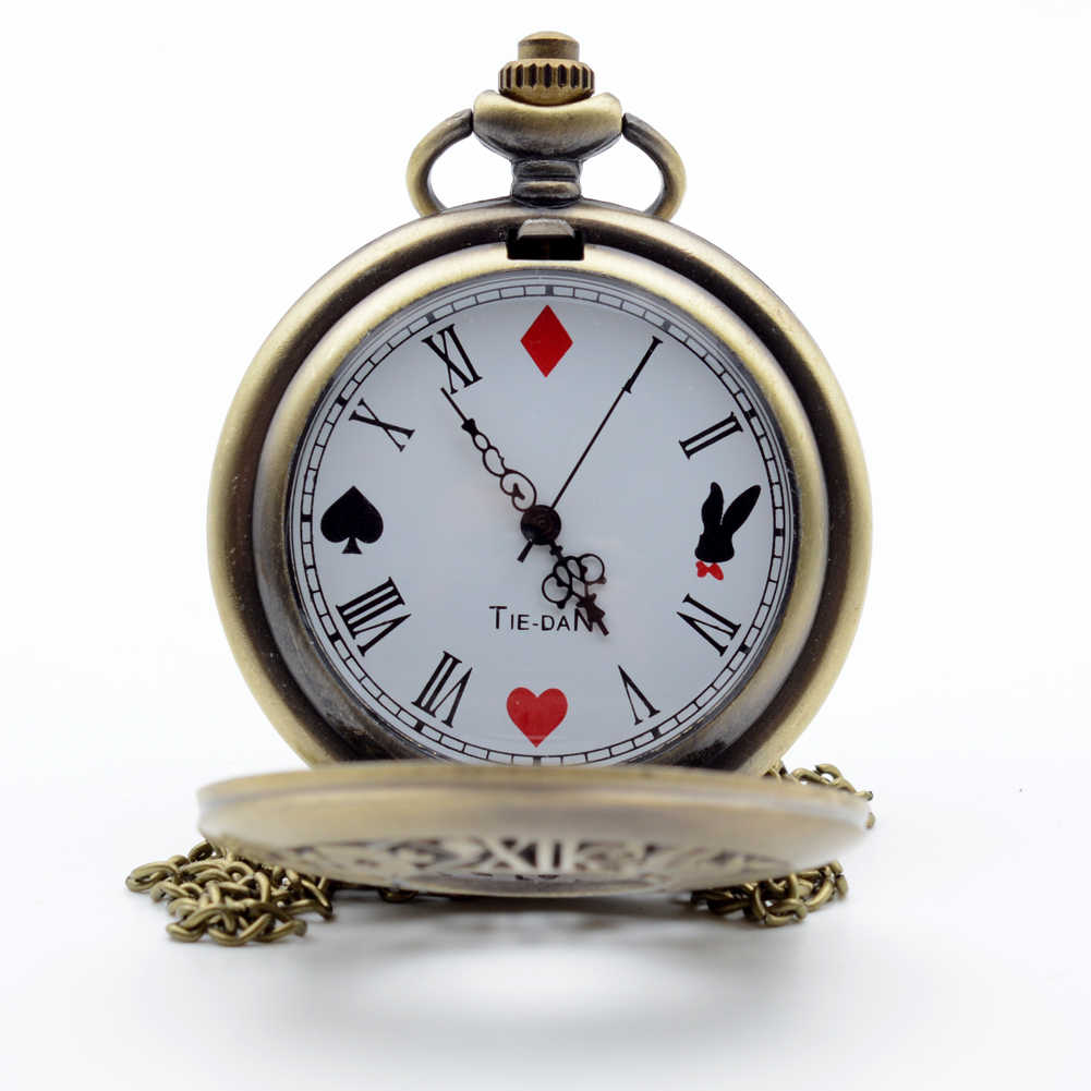 Алиса в стране чудес записи кролик и ключ римскими цифрами и покер циферблат кварцевые карманные часы Аналоговые подвеска Цепочки и ожерелья Для мужчин для женщин