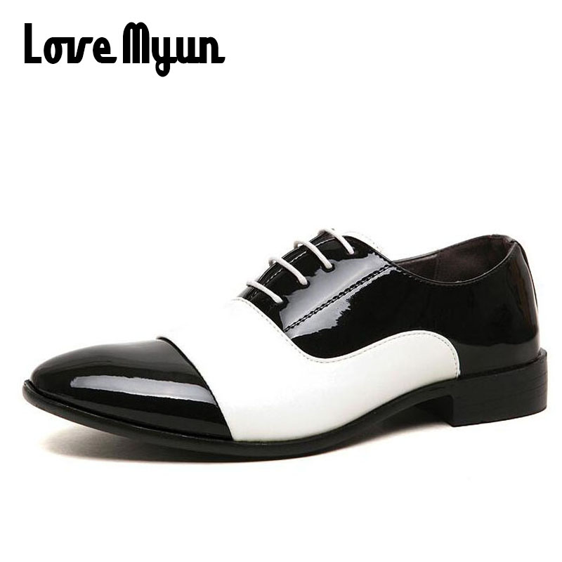 Cheapest mens dress shoes Pointed toe mens patent leather Oxfords wedding business white shoes lace up mens fashion flats AB-44 mycolen mens shoes round toe dress glossy wedding shoes patent leather luxury brand oxfords shoes black business footwear