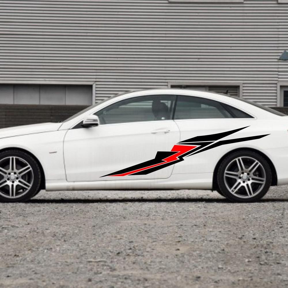 Car racing sport stripes 82 door decals for e class vinyl side stickers zc1460