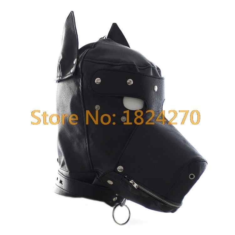Faux leather fetish mặt nạ chó sexy realistic head bondage mui xe màu đen động vật dog sex mặt nạ trò chơi người lớn trang phục halloween sexy