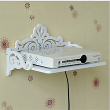 The Newest Design Set Top Box Rack White Wall Storage Shelf Carved STB Holder TV Background Organizer Decoration