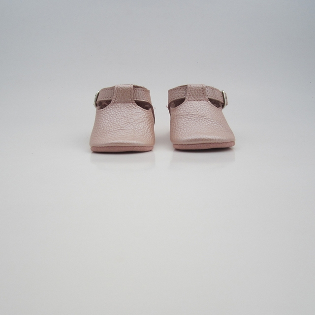 soft sole baby shoes handmade infant gift  pearl pink T bar baby leather moccsin