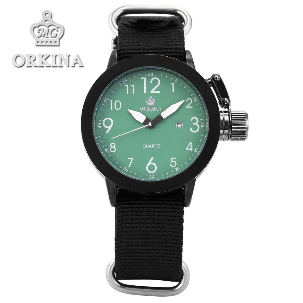 Relojes Mujer 2016 Men Sports Nylon Band Quartz Date Wrist Watch Orkina Brand Mens Sport Military Waterproof Watches 6 Colors orkina relojes 2016 new clock men luxury elegant date display band wrist watch cool horloges mannen watches men