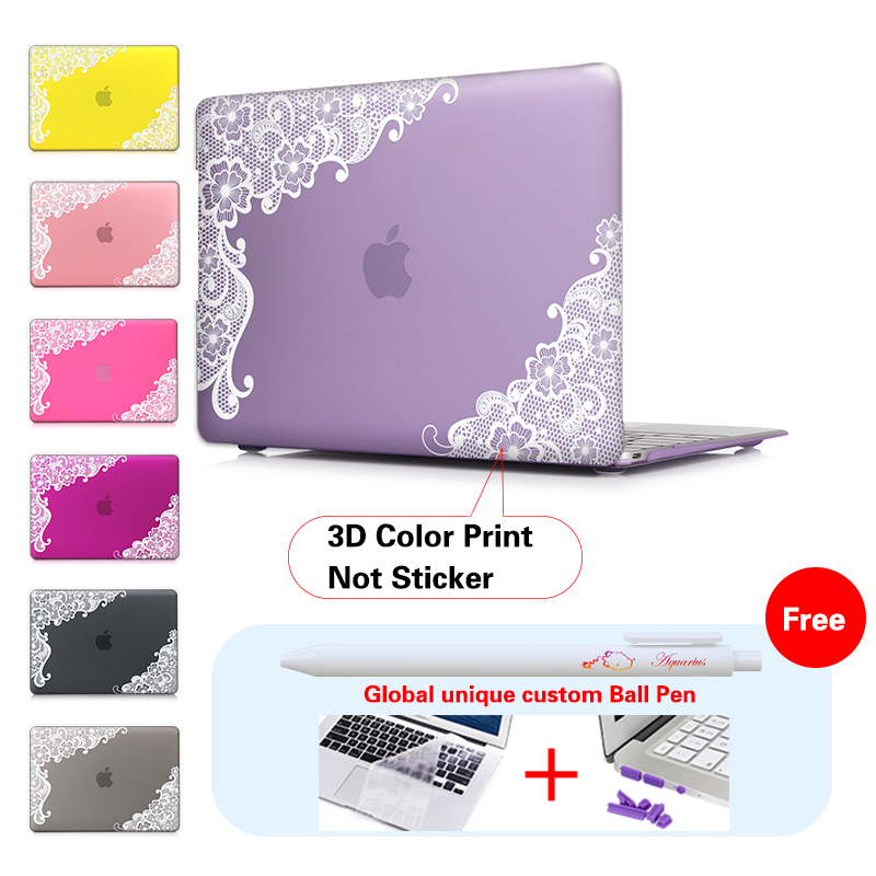 White Lace Purple Hard Frosted Print Cover Case Skinfor Macbook Air 11 13.3 13 15 Inch Macbook Pro Retina