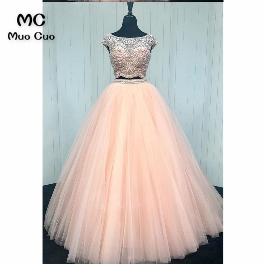 Elegant Two Pieces Gown 2018 Off Shoulder   Prom     dresses   Long with Crystals graduation   dresses   Beaded Evening   Prom     Dress   for Women