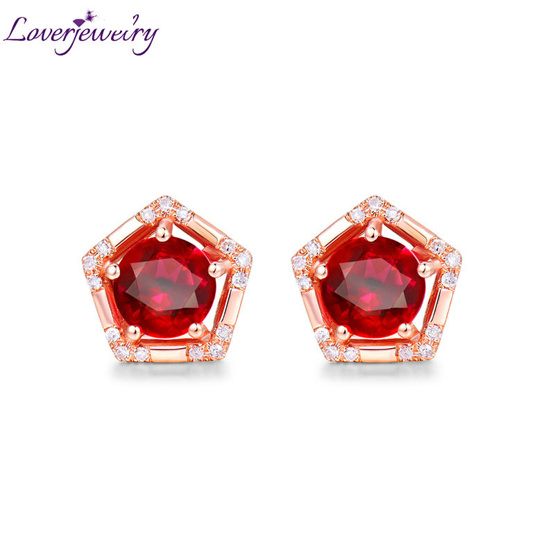 Loving Solid 18K Rose Gold Natural Ruby Wedding Promised Stud Earring Diamond Engagement Jewelry for Women Birthday Gift