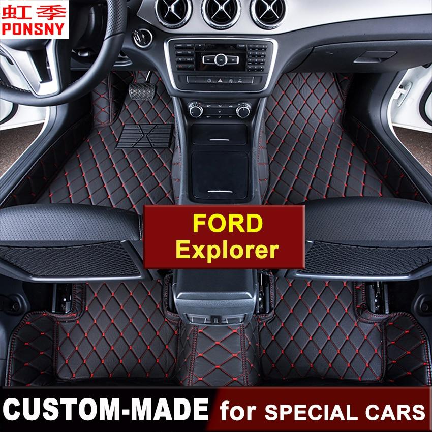 Plancher de la voiture Tapis Personnalisé pour Ford Explorer 5th-gen 2011 ~ 2016 3D Tapis de Sol Sur Mesure Auto Tous couverts-Pied tapis