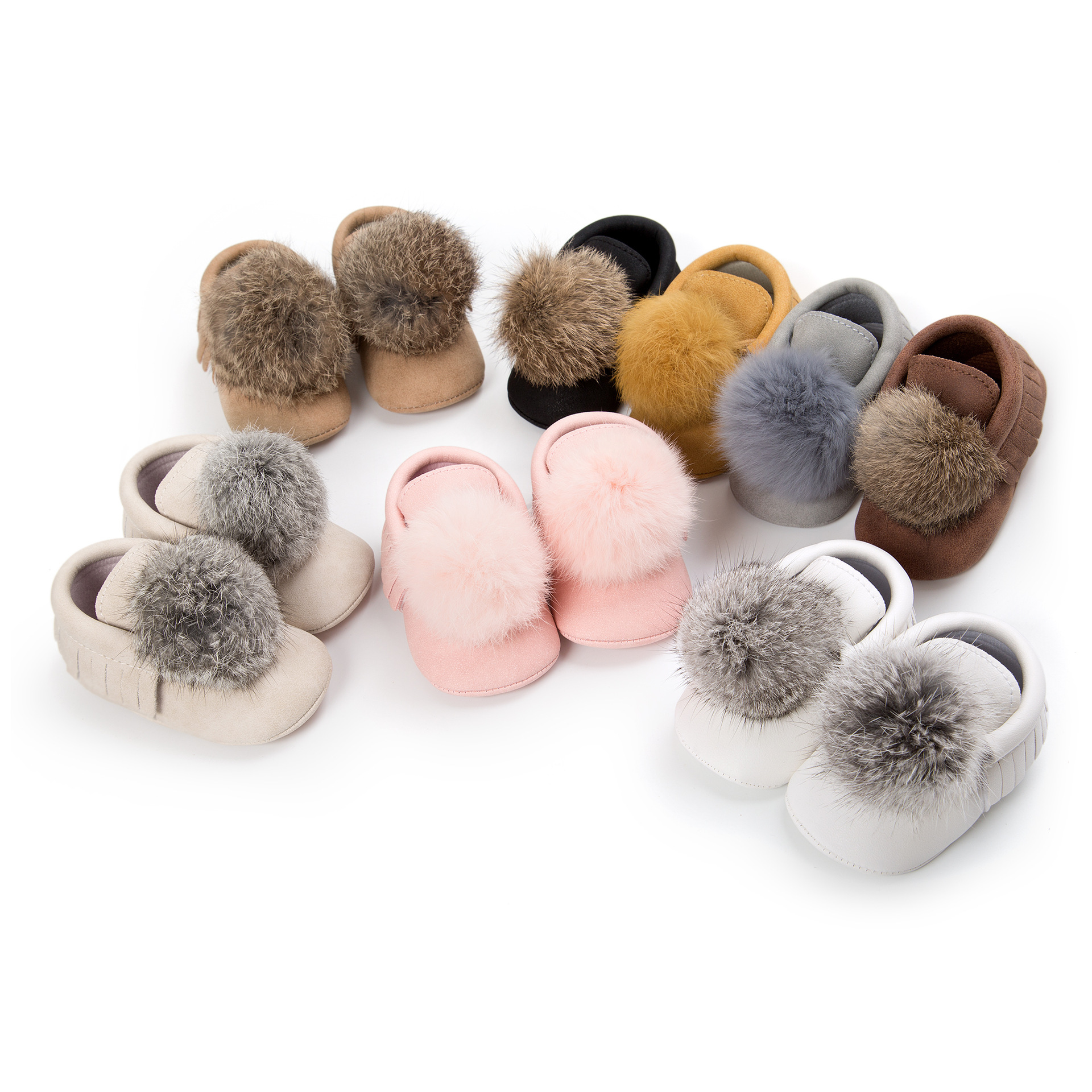 Cute Little Hairball Baby Shoes Tassels Babies Moccasins Spring Autumn Girls Shoes Soft Soled Newborn Shoes Gift
