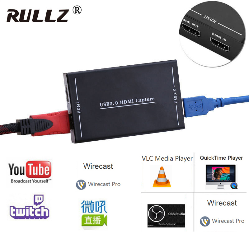 HD60 1080P USB 3.0 HDMI Video Capture Card Recording Live Streaming Broadcast For PS3 PS4 Camcorder Conference Game OBS Youtube