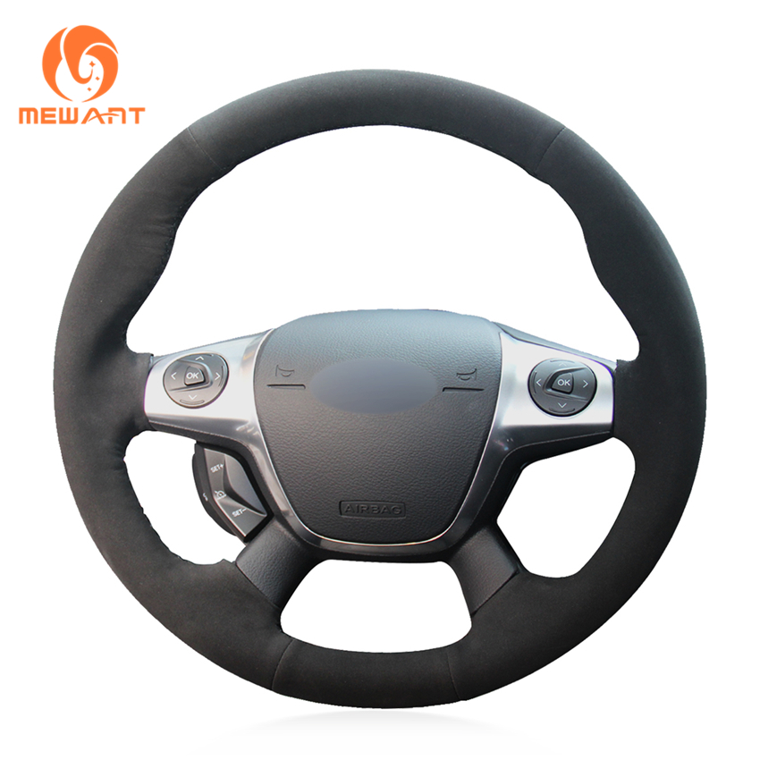 MEWANT Synthetic Suede Comfortable Car Steering Wheel Cover for Ford Focus 3 2012 2014 KUGA Escape