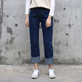 Loose Dark-blue Boyfriend Jeans Woman Straight Leg Denim Pants Ankle Length Cuffs Hem Students Jeans Femme Spring Casual Pants