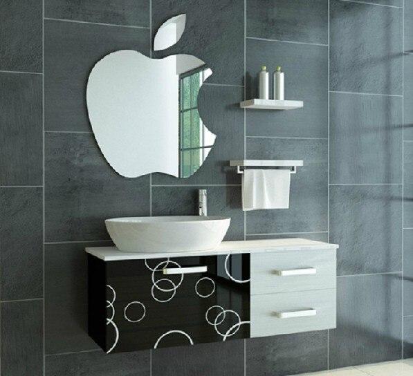 27x24 5cm3d Acrylic Toilet Bathroom Mirror Apple Pattern Stickers Living Room Bedroom Children S Room Wall Decorative Stickers
