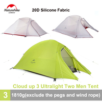 Naturehike Outdoor 3 Person Tent 20D Silicon Double layer Ultralight Waterproof Camping Tent with Free Footprint 4 Season