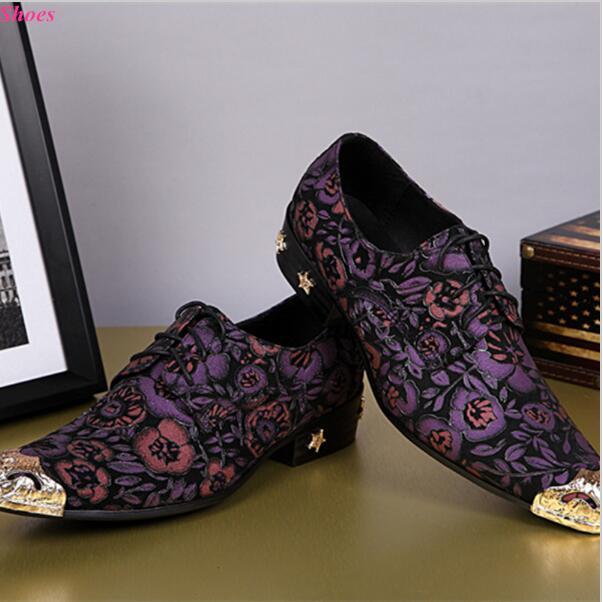 2018 New Print Purple Flowers Men Oxfords Shoes Party Shoes Italian