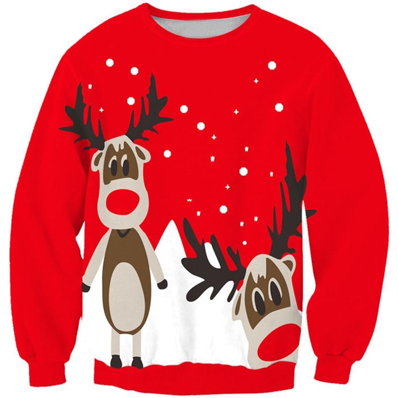 New Fashion 2016 Artistic Sweatshirt Christmas Snow Elk Patterns Fleecs Shirts For Women Casual Loose Style Clothings