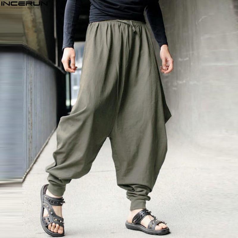 INCERUN, хлопок, шаровары, мужские, японские, свободные, джоггеры, брюки, мужские, кросс-брюки, промежность, брюки, широкие, широкие, мешковатые, брюки для мужчин - Цвет: Army Green