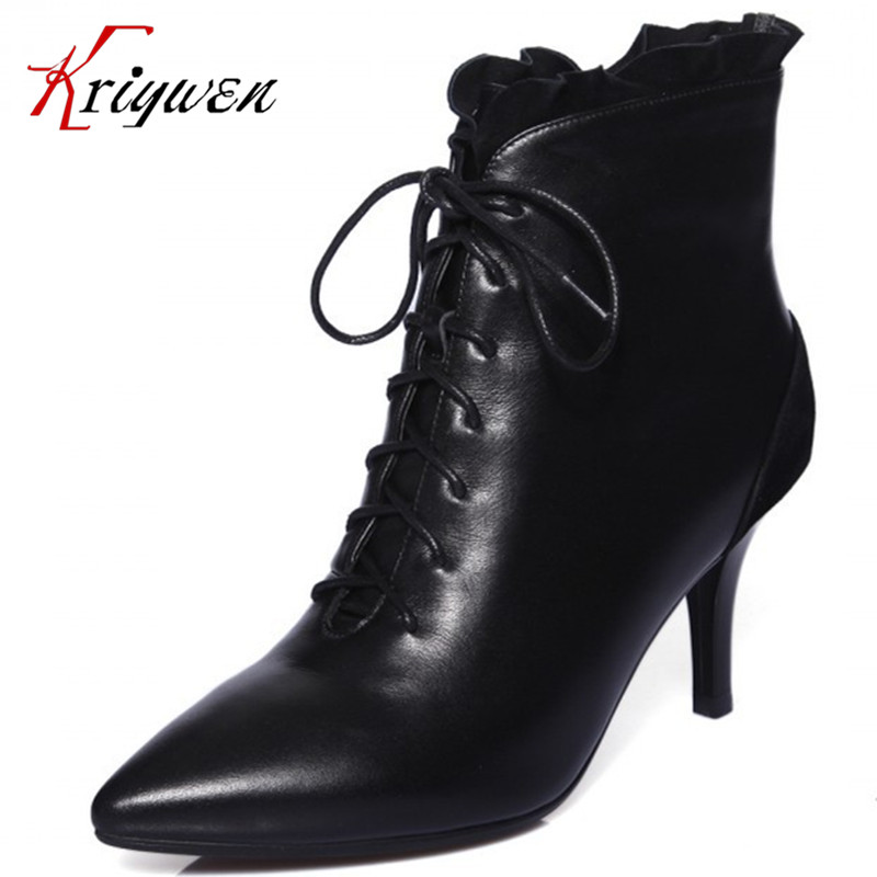 ФОТО Real genuine leather Sexy High Heel Shoes short Boots for WomeN Fashion Boots lace-up shoes Autumn Winter dress work ankle boots