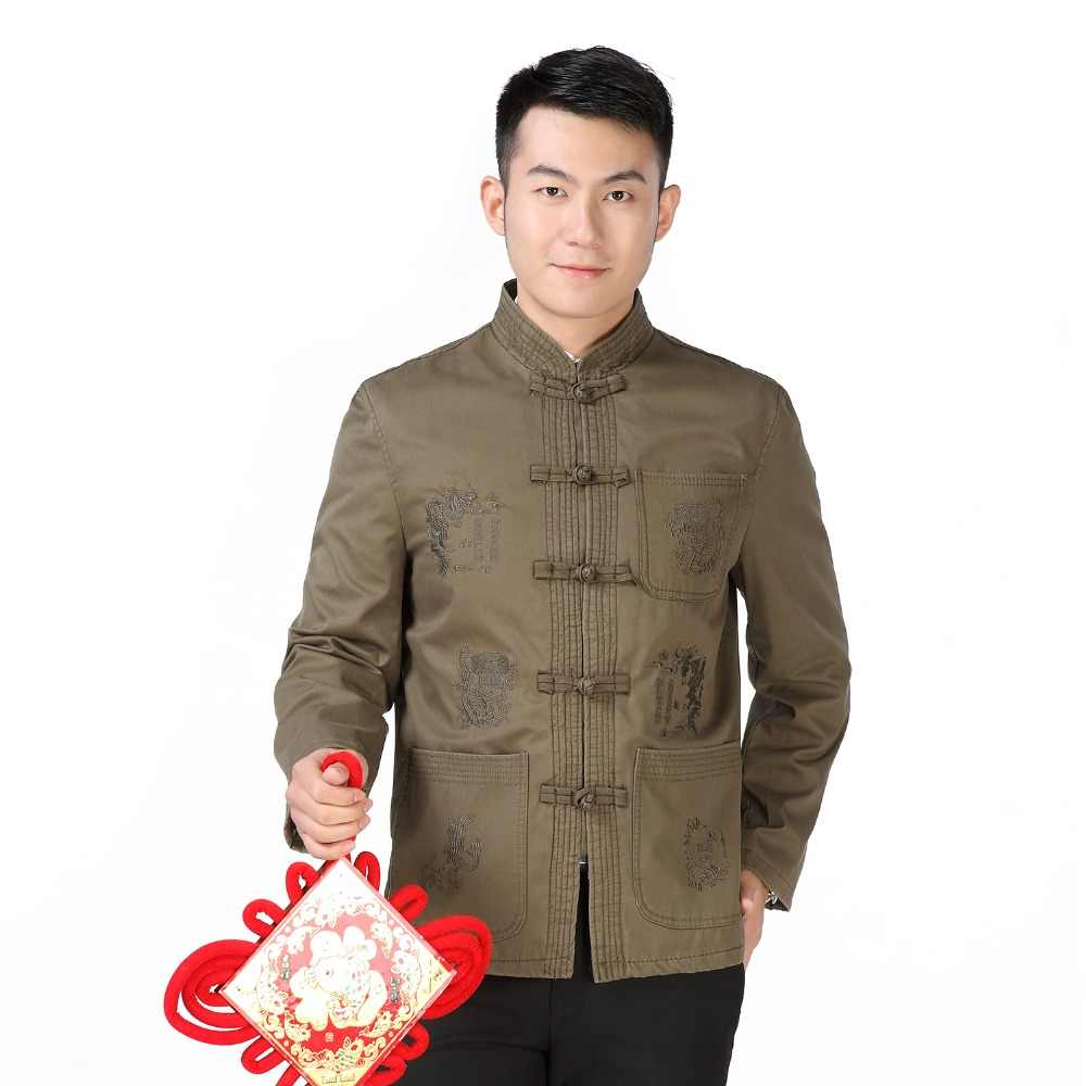 Männer Chinesischen Blazer Tunika Anzug Mantel Stehkragen Blazer Mann Stickerei Tang Anzug Kong Fu Jacke Orientalischen Mao Anzug Ethnical