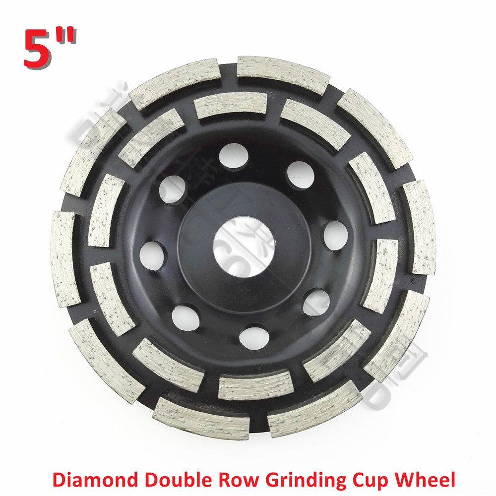 DIATOOL 5 Inches Metal Bond Diamond Double Row Grinding Cup Wheel 125MM Grinding Disc Bore 7/8 22.23mm Concrete Granite Marble 2pk diamond double row grinding cup wheel for granite and hard material diameter 4 5 115mm bore 22 23mm with 16mm washer