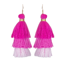 Brand colorful cute tassel waves pendant statement boho fringe drop earrings 2017 fashion dangle hanging party jewelry wholesale