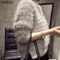 Femenino Suéter 2016 Nuevo de Alta Calidad de Invierno Imitación Visón Cashmere Pullover Hippocampal Pelo Peludo Suéter Chaqueta Femenina Dividida