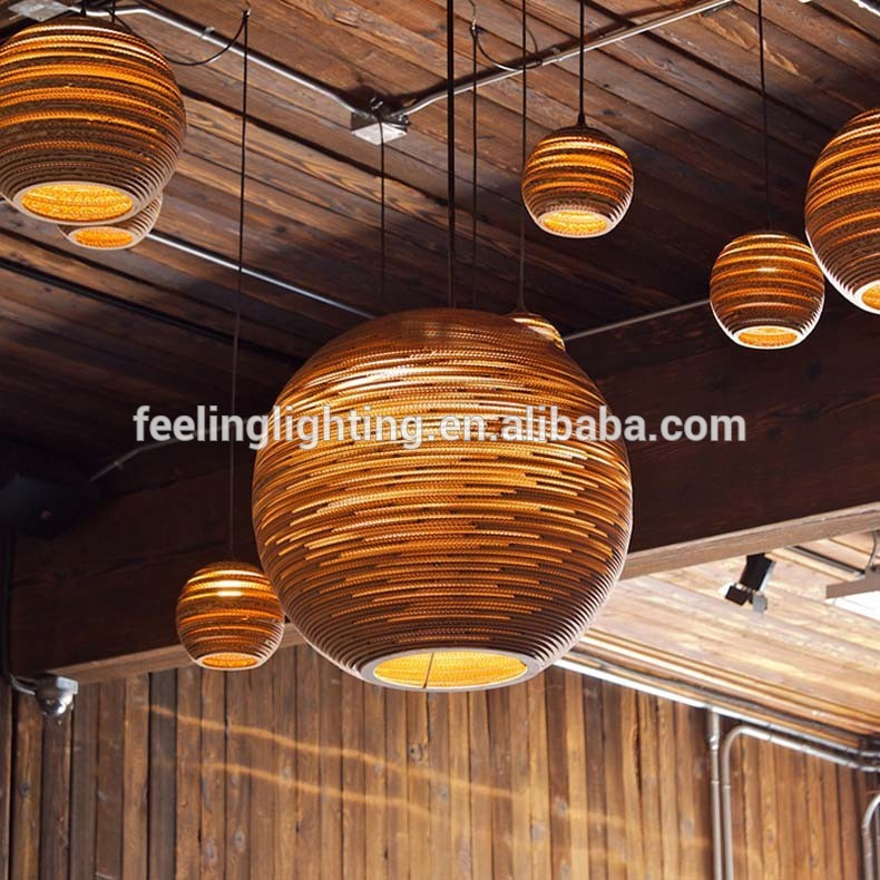 Fl factory sale japanese individuality creative round shape recycled fl factory sale japanese individuality creative round shape recycled cardboard corrugated paper pendant light zen pendant light in pendant lights from aloadofball Image collections